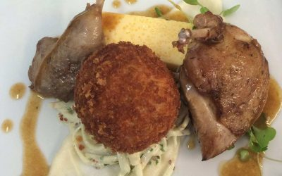 Norfolk Quail with garlic flan and celeriac remoulade