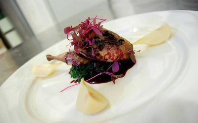 Norfolk Quail and Poached Pears in Elderberry Jus